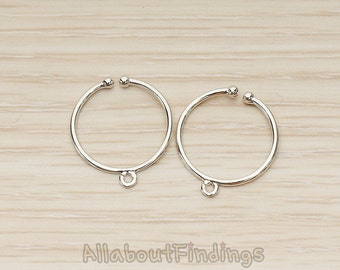 BSC264-R // Glossy Original Rhodium Plated Adjustable Ring Findings, 2 Pc