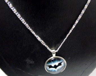 """Artisan made glass cabachon necklace BATMAN with 20"""" chain"""