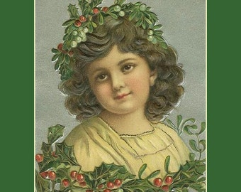 "Victorian Christmas Angel print, 1800s, 8 x 10"" premium Poster Paper"