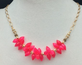 Hot Pink Chalcedony Cluster Necklace, Ethiopian Opal Necklace, Sterling Silver, 14k Gold Fill Necklace, Necklaces under 150