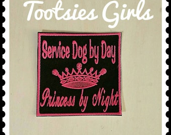 Princess Service Dog Patch Embroidered Iron on Personalized with Choice of Colors.  Available in Several Sizes.  Fast Shipping. Vest Patch