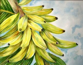 BANANA TREE Original Watercolor, Watercolor Art, Tropical Art, Banana, Watercolor Painting, Fruit Tree Watercolor, Yellow Bananas
