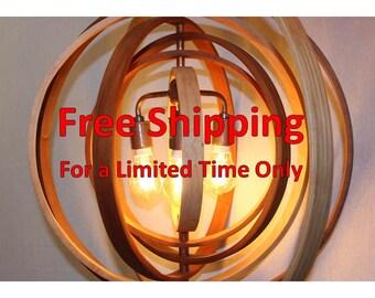 "Wood Orb Chandelier Sphere Light 24"" with 3 light Socket | Globe Hanging Chandelier Hanging Sphere"