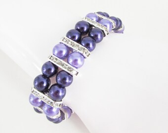 Purple and Lilac Pearl and Rhinestone Stretch Bracelet, Pearl Bracelet, Purple Bridesmaids Bracelet, Lilac Pearl Bracelet, Purple Bracelet