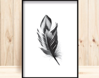 Feather Prints, Feather Printable, Scandi Wall Art, Minimalist Decor, Black & White Feather Print, Feather Photograph, Black Feather Prints