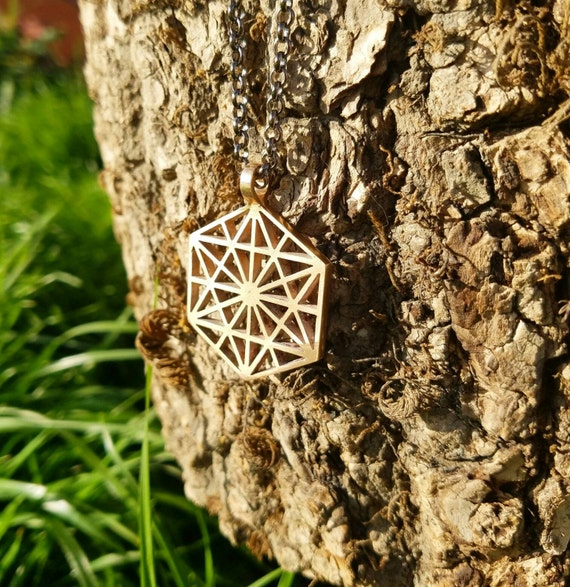 64 Tetrahedron Cast Bronze Pendant with Chain - Sacred Geometry - Healing