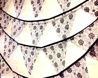 White or black or ivory lace bunting  5 meters 19 ft, perfect for traditional weddings, engagements, shabby chic themed events
