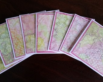 """Set of 8 Mini Note Cards; 3"""" x 3"""" Cards; Stationery Set; Gift Enclosures; Decorative Collage Paper"""