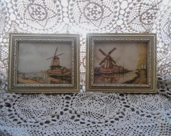 Framed Pair of Small Windmill Prints