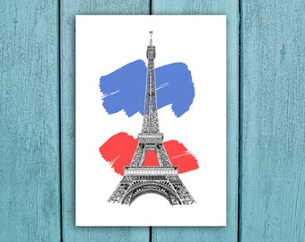 Paris Eiffel Tower, Art print. Detailed, coloured, drawing Eiffel Tower PHOTO print. A great, unique and romantic gift for Paris lovers