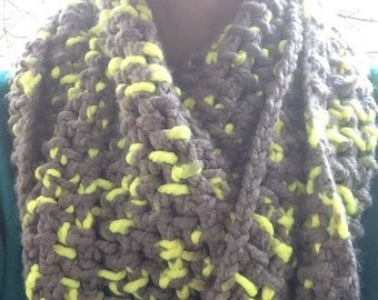 Yellow and grey infinity scarf, crochet scarf, crochet infinity scarf, crochet cowl, cowl, scarf, infinity scarf, grey scarf, yellow scarf