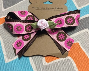 Pink Flower Ribbon Bow