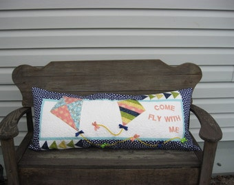 Let's Go Fly A Kite Bench Pillow, kites, ribbons,  kit