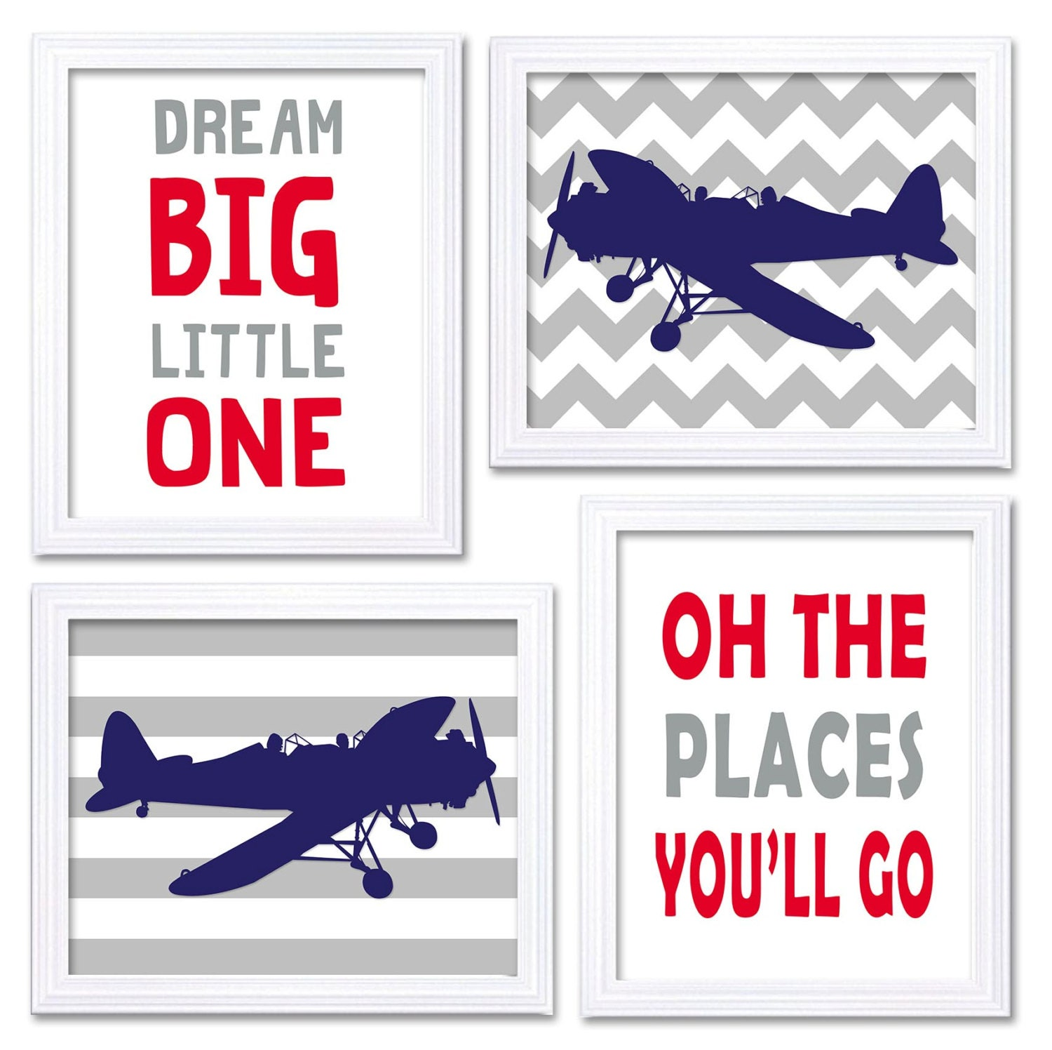 Airplane Nursery Art Red Navy Blue Grey Nursery Print Set of 4 Transportation Dream Big Little One O