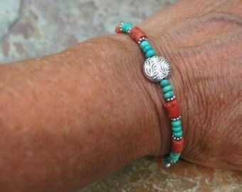 Turquoise, Coral and Sterling Silver Bracelet; Simple Gemstone Bracelet