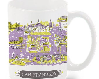 San Francisco Mug-City Mug-Coffee-Tea-Kitchen-California Mug-Lavender-Chartreuse-Coral-Kitchen-Foodie-Cooking-Baking-Personalized-Custom