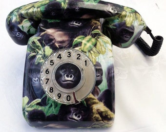 SALE - Gorilla Telephone  - Fully Functioning Genuine 700 series GPO Phone - Hand Decorated With Cotton Fabric