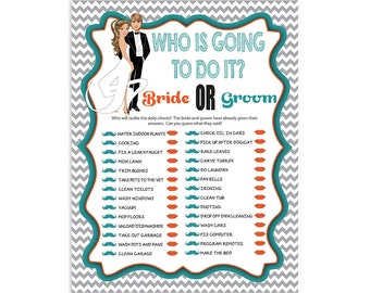 "Printable Bridal Shower Game ""Who is going to do it?"""