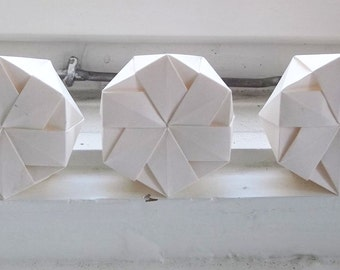 Three Origami Favour Boxes, white