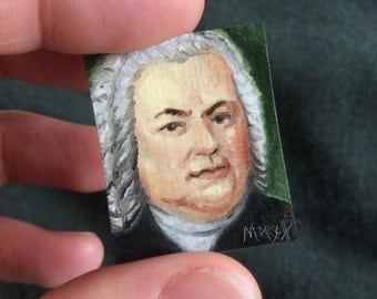 Mini Johann Sebastian Bach Portrait Painting, Framed