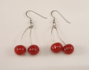 Murano Glass Cherries Hook Earrings, Glass jewellery, Sterling silver