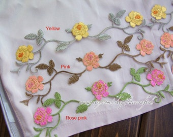 2 pcs Pink Yellow Rose Flower Lace Applique Embroidery Trim Shabby Chic Floral Patch Iron on Applique Patch For Dress costume design