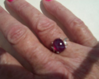 Star Ruby Ring in Pure Sterling Silver - Size 5,6,7, or 8