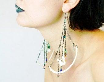 NEW Fox rib bone earrings with glass beads and vertebrae bone