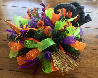 READY TO SHIP Mesh Witch Legs Centerpiece for Halloween with Hat and Broom