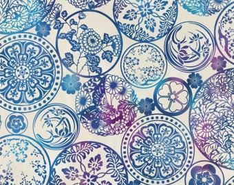 Blue Floral Round Geometric Print on Ivory, Grace Tones, Kona Bay (By 1/2 yard)