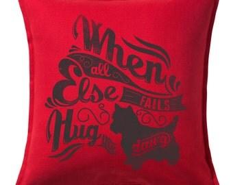 Hug The Dawg Feather Throw Pillow