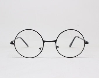 20s style glasses, round black metal frame, classic vintage style glasses. Spectacles, frames, clear lens, optical, eyeglasses, John Lennon.