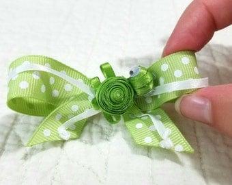 Green Polka-dot Sea Turtle Hair bow Clip