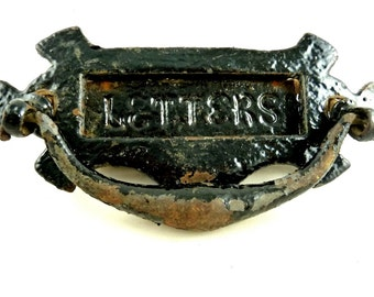 Antique English Door Knocker with Letter Slot Cast Iron
