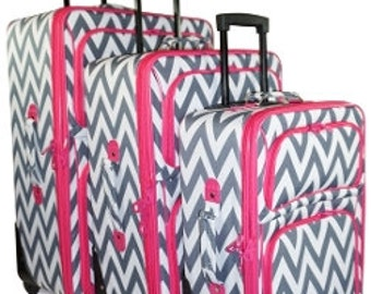 Three piece Luggage Set.  Gray Chevron Print with Pink or Teal Trim