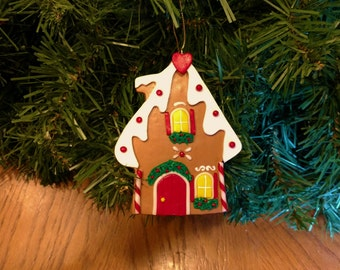 Gingerbread house cookie ornament