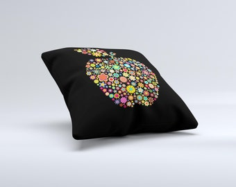 The Apple Icon Floral Collage ink-Fuzed Decorative Throw Pillow