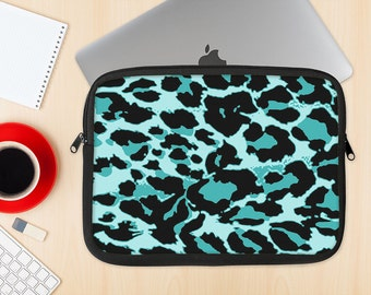 The Vector Hot Turquoise Cheetah Print Dye-Sublimated NeoPrene MacBook Laptop Sleeve Carrying Case