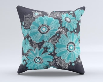 The Bright Blue Accented Flower Illustration ink-Fuzed Decorative Throw Pillow