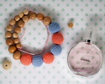 Peach Blue Crochet Nursing Necklace.  Breastfeeding necklace. Teething toy. Baby Shower Gift. Eco Style Necklace. Gift for her.