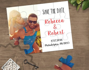 Personalized Save the Date Puzzle Card Wedding Announcement Jigsaw Puzzle with Photo Invitation Personalised Engagement Wedding Announcement