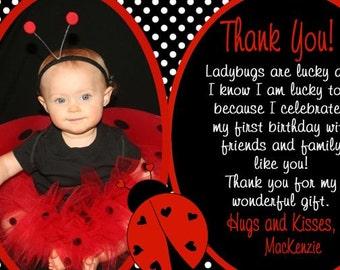 Thank You Ladybug Card, Ladybug Birthday Thank You Card, Thank You First Birthday Card ANY AGE Digital 4x6 or 5x7