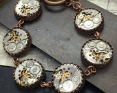 Steampunk bracelet copper - watch works Handcrafted artistic jewelry -The Victorian Magpie