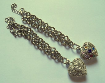 Stainless steel bracelet with heart charms and crystals