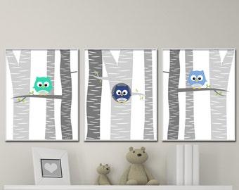 Baby Boy Owl Nursery Wall Art Print, baby Boy Owls in a Tree, Suits Navy Blue and Grey Nursery, Baby Boy Nursery Decor- N1241,1239,1242