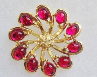 Red Cabochon Rhinestone & Clear Rhinestone Gold Swirl Flower Pin