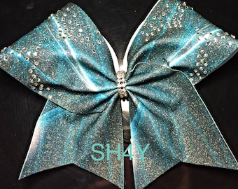 Cheer Bow Teal Black and Rhinestones