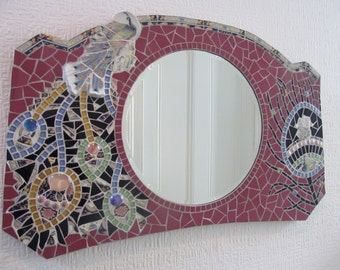 Unique handmade mosaic mirror; peacock design, recycled broken crockery mirror; ideal for hallway or living room