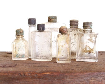 perfume bottles, found objects, instant collection, mini bottles, salvage bottles, primitive decor, clear glass, collectible bottles