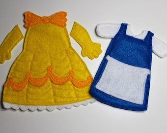 Belle Yellow and Blue Dresses Felt Quiet Book Princess Dress Up Doll (Dresses Only)
